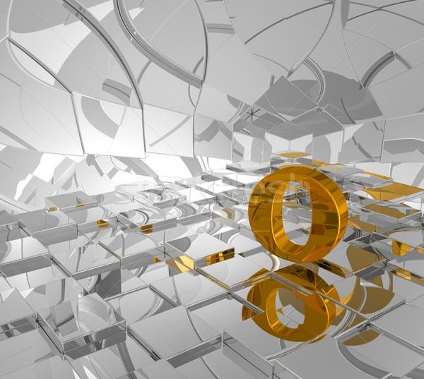 Kockák arany o betű 3d illusztráció épület építkezés Stock fotó © drizzd