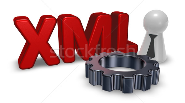 xml tag, pawn with tie and gear wheel - 3d rendering Stock photo © drizzd