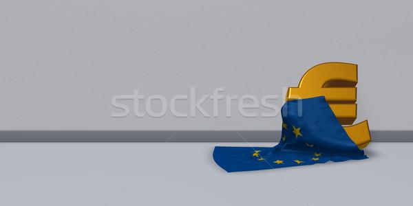 Foto stock: Euros · símbolo · europeo · Unión · bandera · 3d