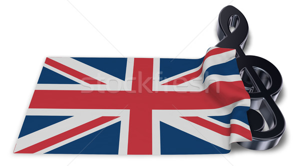 clef symbol and flag of the united kingdom - 3d rendering Stock photo © drizzd