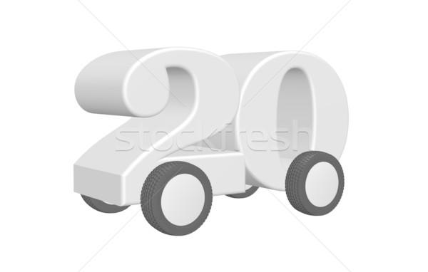 Húsz út szám kerekek 3d illusztráció forgalom Stock fotó © drizzd