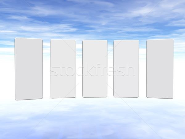 Presentatie vijf onderdelen pluizig hemel 3d illustration Stockfoto © drizzd