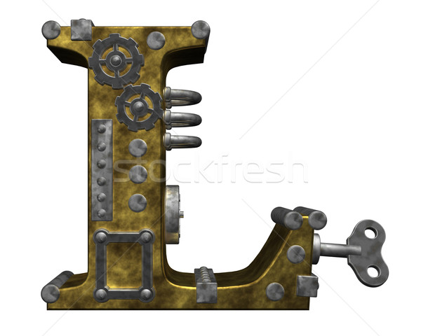 Steampunk letra l branco ilustração 3d relógio arte Foto stock © drizzd