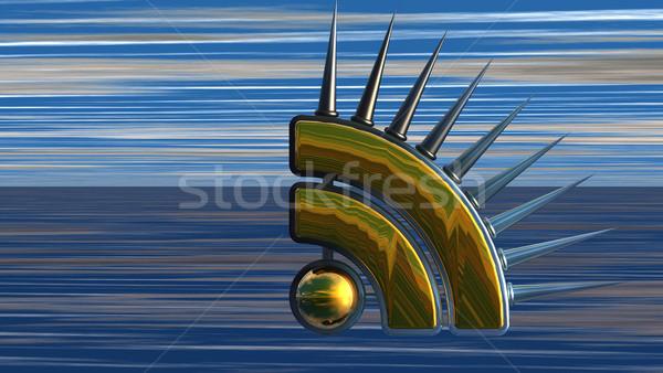 Rss símbolo abstrato ilustração 3d computador internet Foto stock © drizzd