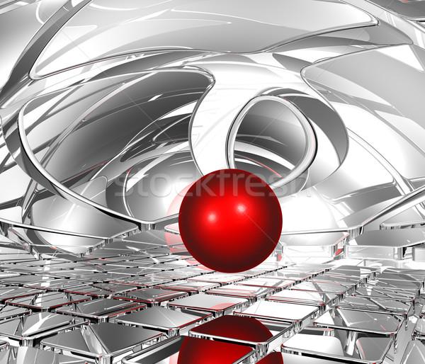 Esfera abstrato espaço futurista vermelho bola Foto stock © drizzd