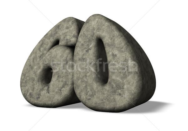 Aantal zestig steen 3d illustration verjaardag illustratie Stockfoto © drizzd