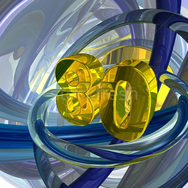 Oitenta dourado número techno espaço ilustração 3d Foto stock © drizzd