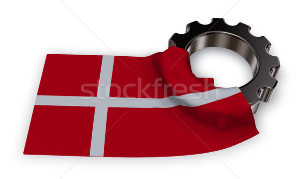 gear wheel and flag of denmark - 3d rendering Stock photo © drizzd
