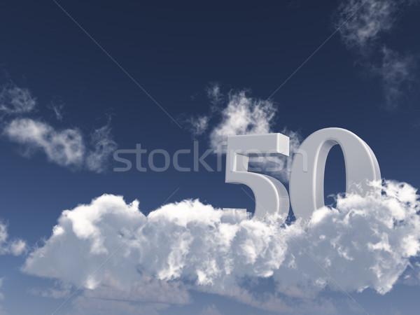 Сток-фото: пятьдесят · числа · 50 · облака · 3d · иллюстрации · рождения