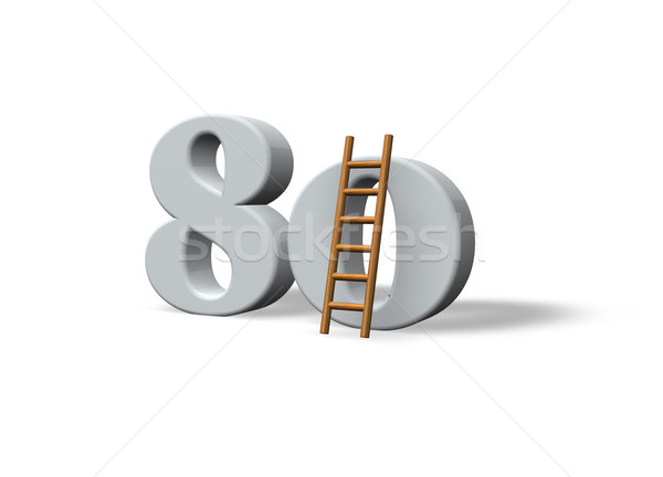 Tachtig aantal 80 ladder witte 3d illustration Stockfoto © drizzd