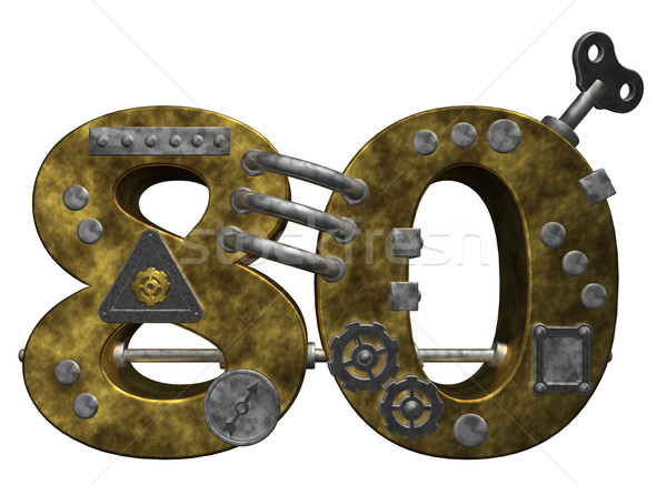 Aantal tachtig steampunk witte 3d illustration financieren Stockfoto © drizzd