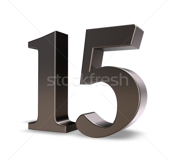 Szám tizenöt fém fehér 3d illusztráció felirat Stock fotó © drizzd