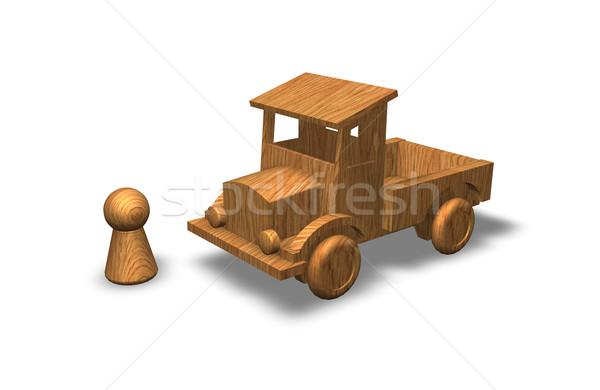 Brinquedos brinquedo de madeira caminhão madeira brinquedo Foto stock © drizzd