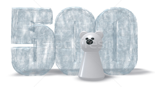frozen number five hundred and polar bear - 3d rendering Stock photo © drizzd