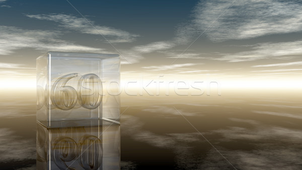 number sixty in glass cube under cloudy sky - 3d rendering Stock photo © drizzd