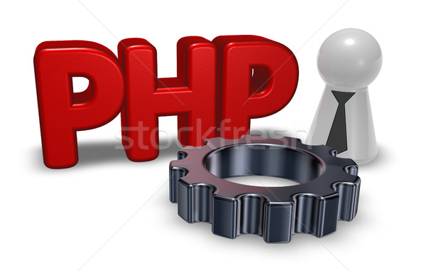 php tag and cogwheel - 3d illustration Stock photo © drizzd