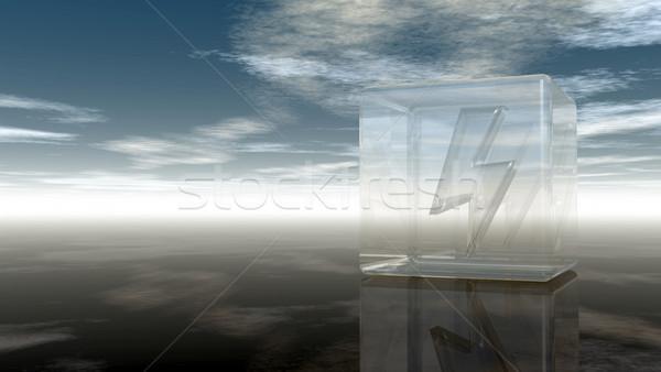 Flash symbool glas kubus bewolkt hemel Stockfoto © drizzd