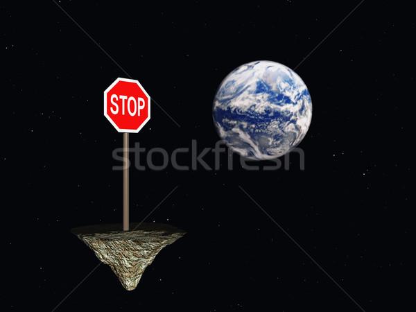 Stoppen stopteken ruimte aarde 3d illustration teken Stockfoto © drizzd
