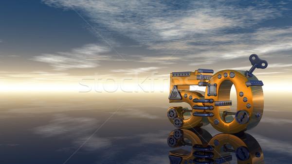 числа пятьдесят стимпанк Blue Sky 3d иллюстрации небе Сток-фото © drizzd