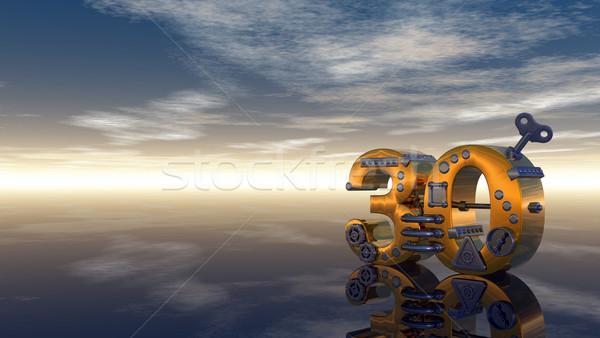 Aantal dertig steampunk blauwe hemel 3d illustration hemel Stockfoto © drizzd