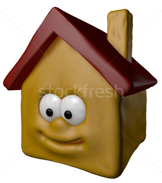 Mutlu ev gülen karikatür 3d illustration yüz Stok fotoğraf © drizzd
