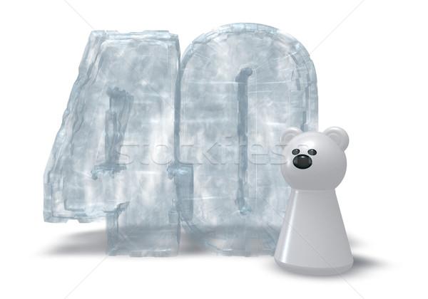 Ijs aantal ijsbeer bevroren veertig 3d illustration Stockfoto © drizzd