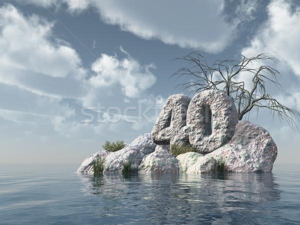 Numero quaranta rock acqua illustrazione 3d party Foto d'archivio © drizzd