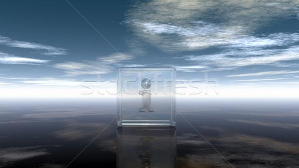 Vidro cubo letra i nublado céu ilustração 3d Foto stock © drizzd