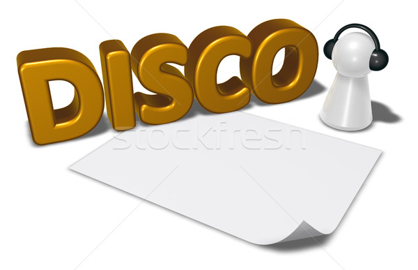disco tag, blank white paper sheet and pawn with headphones - 3d rendering Stock photo © drizzd