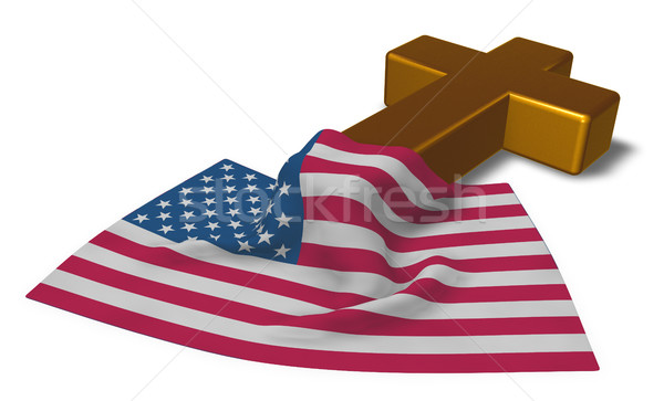 christian cross and flag of the usa - 3d rendering Stock photo © drizzd
