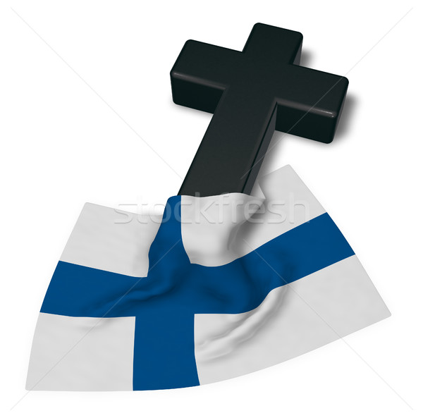 christian cross and flag of finland - 3d rendering Stock photo © drizzd