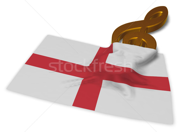 clef symbol and english flag - 3d rendering Stock photo © drizzd
