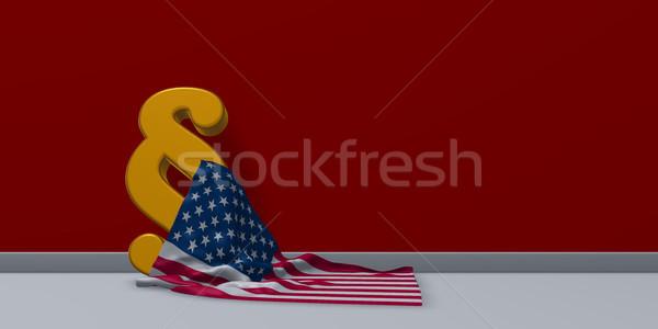 USA zászló bekezdés szimbólum 3d illusztráció bíróság Stock fotó © drizzd