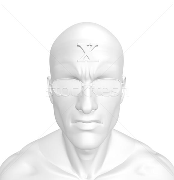 Voorhoofd blanke man brief 3d illustration kruis bril Stockfoto © drizzd