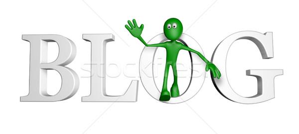 ストックフォト: ブロガー · 緑 · 男 · 言葉 · ブログ · 3次元の図