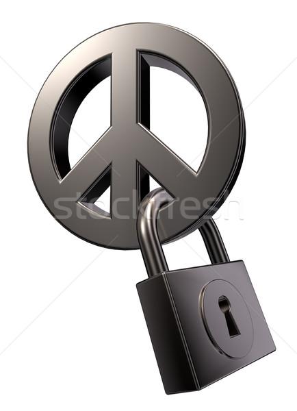 Pokoju kłódki metal symbol biały 3d ilustracji Zdjęcia stock © drizzd