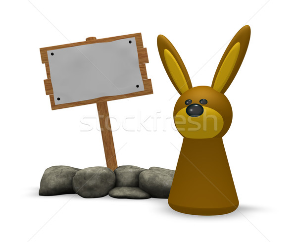rabbit and wooden sign Stock photo © drizzd