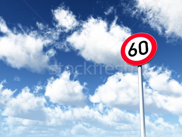 Limite de velocidade sessenta nublado blue sky ilustração 3d Foto stock © drizzd