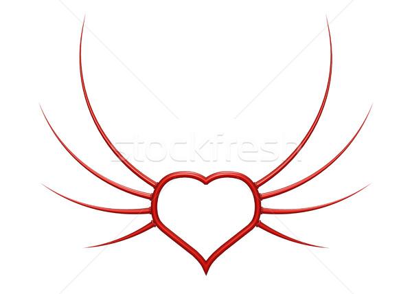 Szív szárnyak 3d illusztráció absztrakt terv felirat Stock fotó © drizzd