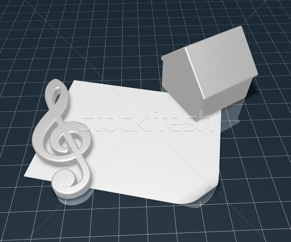 clef symbol and house symbol on blank white paper sheet - 3d rendering Stock photo © drizzd