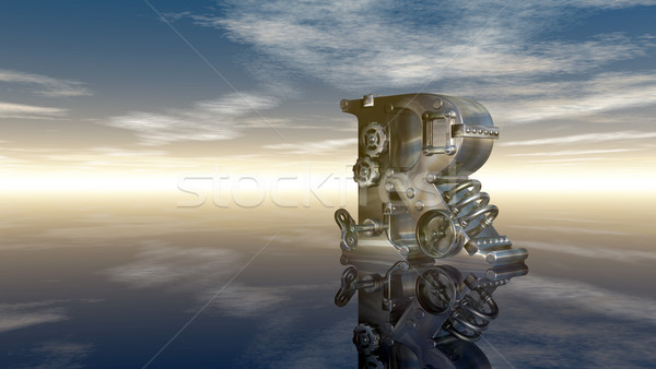 machine letter r under cloudy sky - 3d illustration Stock photo © drizzd