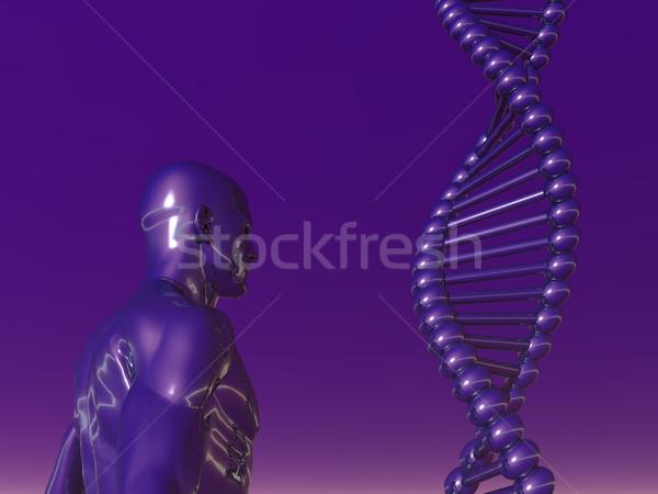Dna humanismo corpo azul ilustração 3d homem Foto stock © drizzd
