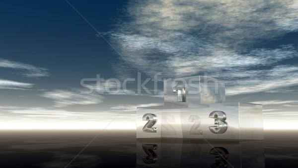 Stock fotó: üveg · nyertes · pódium · felhős · égbolt · 3d · illusztráció