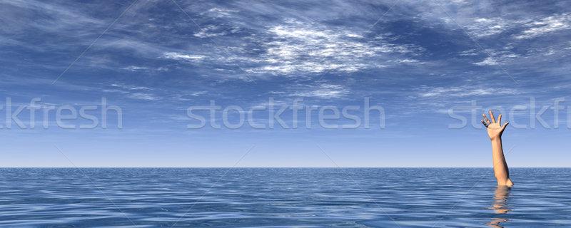 Foto d'archivio: Sos · braccio · acqua · panorama · blu · nuvoloso