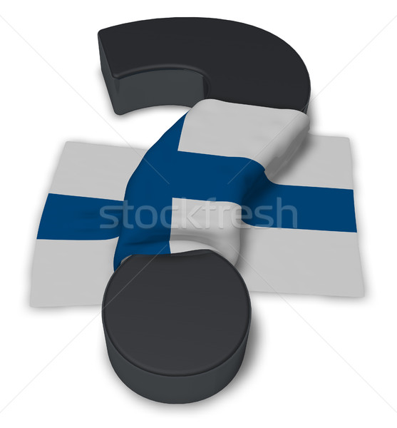 Ponto de interrogação bandeira Finlândia ilustração 3d assinar ajudar Foto stock © drizzd