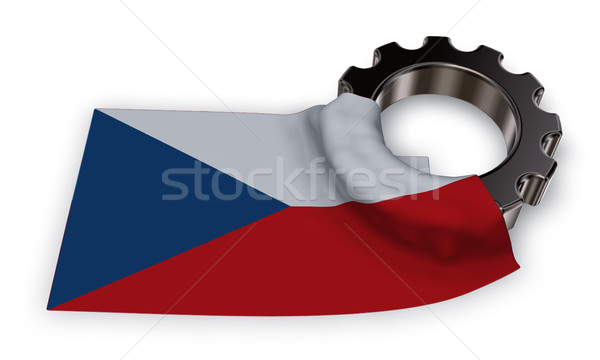 gear wheel and flag of the Czech Republic  - 3d rendering Stock photo © drizzd