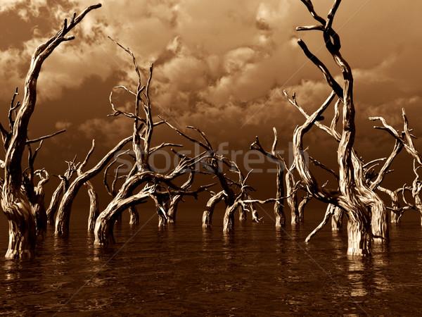 Morti alberi buio acqua panorama illustrazione 3d Foto d'archivio © drizzd
