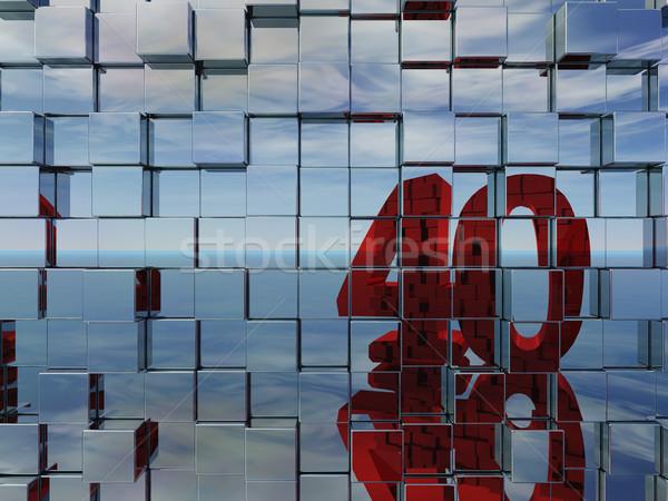 Nombre quarante mur métal cubes 3d illustration Photo stock © drizzd