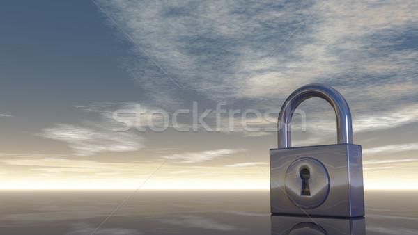 Kłódki mętny Błękitne niebo 3d ilustracji chmury blokady Zdjęcia stock © drizzd