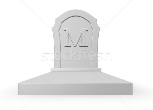 Mezar taşı mektup m 3D beyaz 3d illustration Stok fotoğraf © drizzd